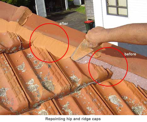 repointing hip and ridge caps